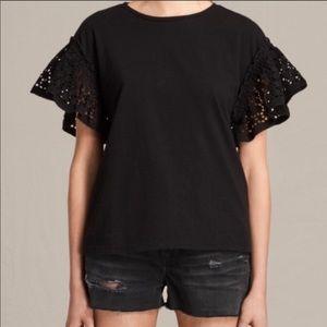Allsaints NWT Black  Trixi Ruffle Top Size M